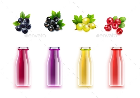 GraphicRiver Berry Juice Realistic Set 20340988