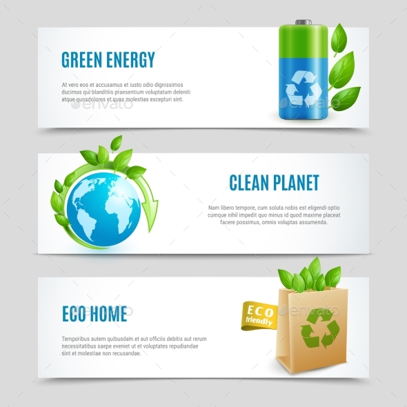 GraphicRiver Ecology Horizontal Banners in Paper Design 20341064