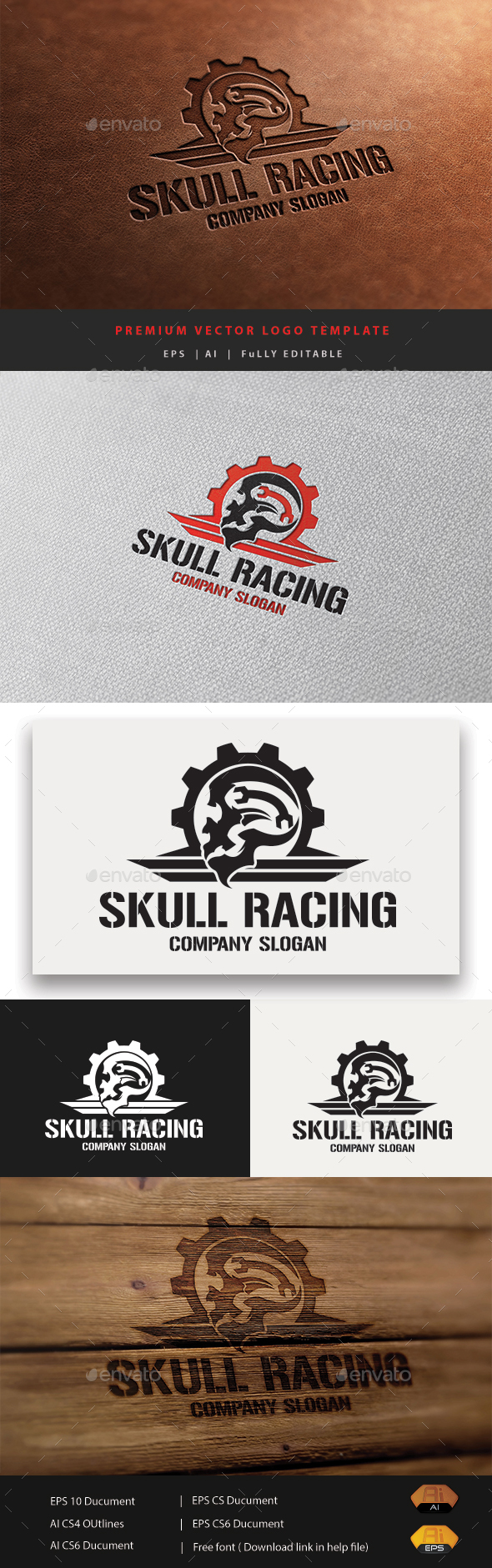 Skull Racing - Humans Logo Templates
