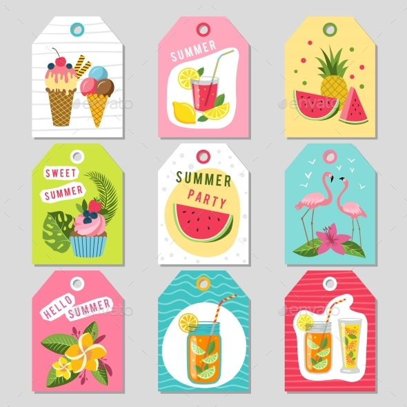 Gift Tags with Summer Tropical Decoration - Objects Vectors