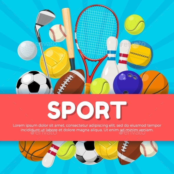Sport Poster Design of Different Equipment - Sports/Activity Conceptual