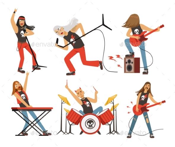 GraphicRiver Funny Cartoon Characters in Rock Band 20341310