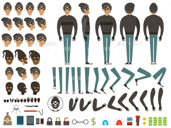 Mascot or Character Design of Bandit. Vector - People Characters
