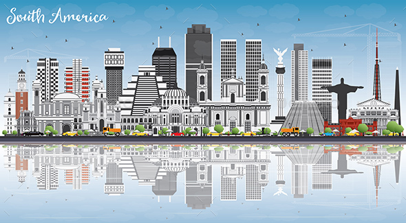 South America Skyline with Famous Landmarks and Reflections - Buildings Objects