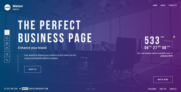 ThemeForest Meteor Creative Website template for agency business and portfolio 20341459