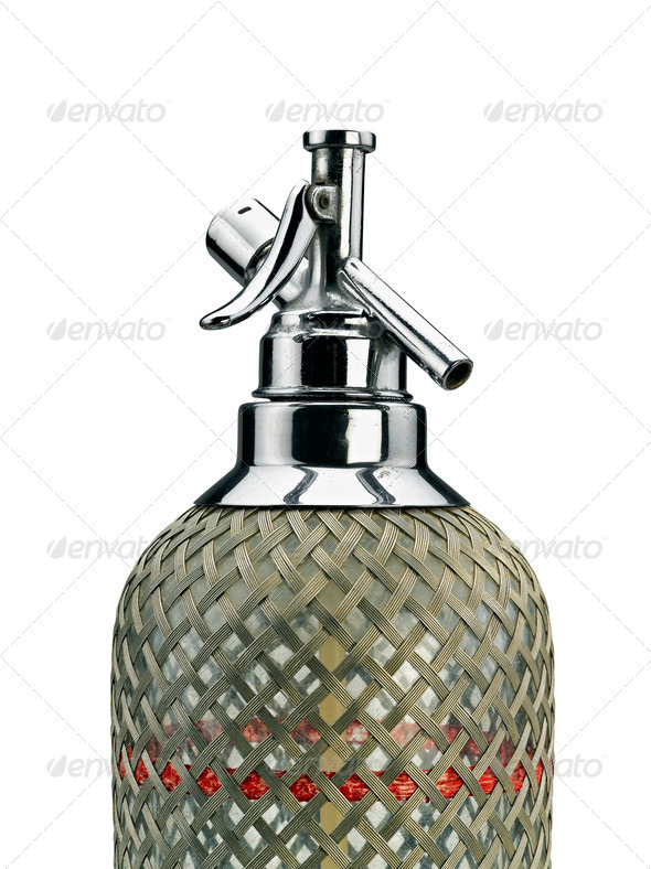 Old Soda siphon was made with glass and metal - Stock Photo - Images