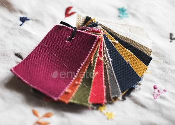 Closeup of colorful fabric samples