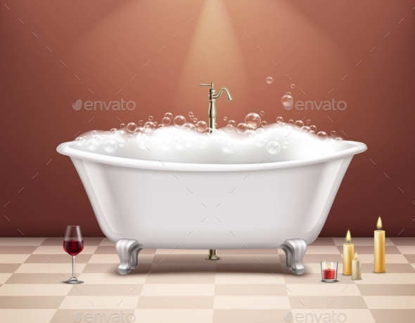 Bathtub with Foam Composition - Man-made Objects Objects