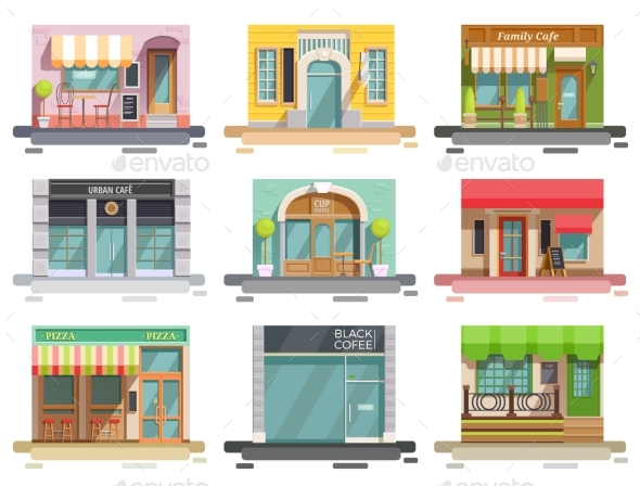 Cafe Storefront Flat Set - Buildings Objects
