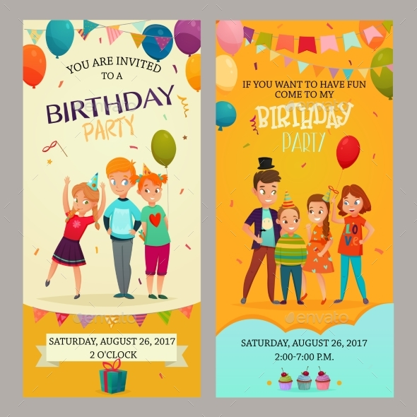 Kids Party Invitation Banners Set - Birthdays Seasons/Holidays