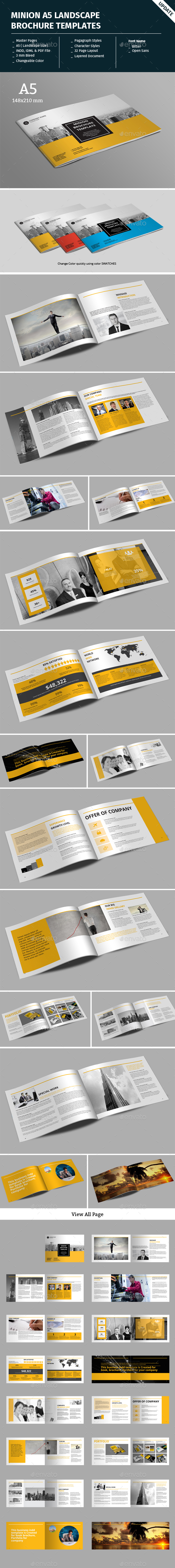 minion a5 landscape brochure template corporate brochures