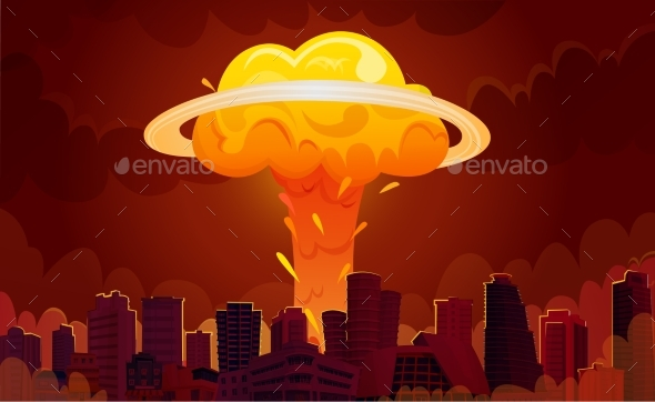 Nuclear Explosion City Cartoon Poster - Miscellaneous Vectors