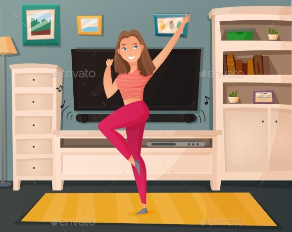 Girl Dance Home Cartoon Vector - Man-made Objects Objects