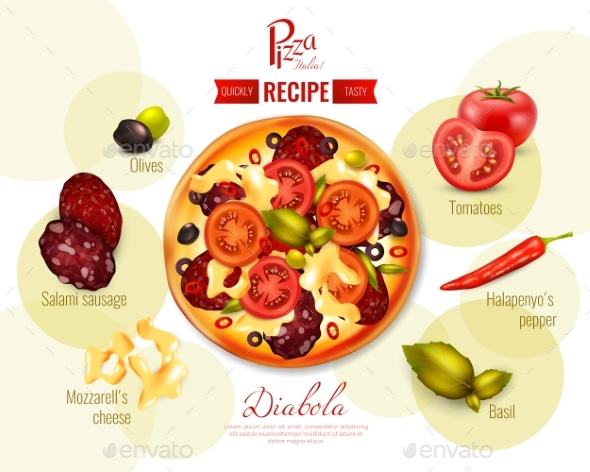 GraphicRiver Pizza Diabola Recipe Illustration 20341910