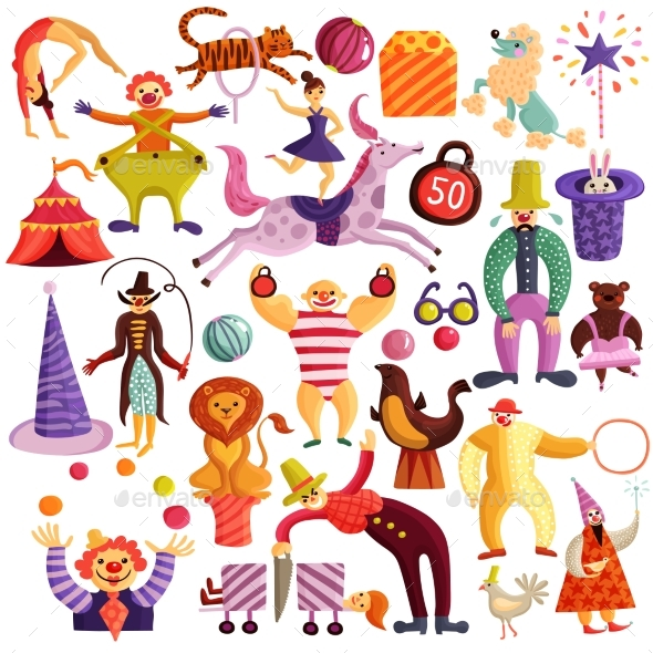 GraphicRiver Circus Decorative Icons Set 20341938