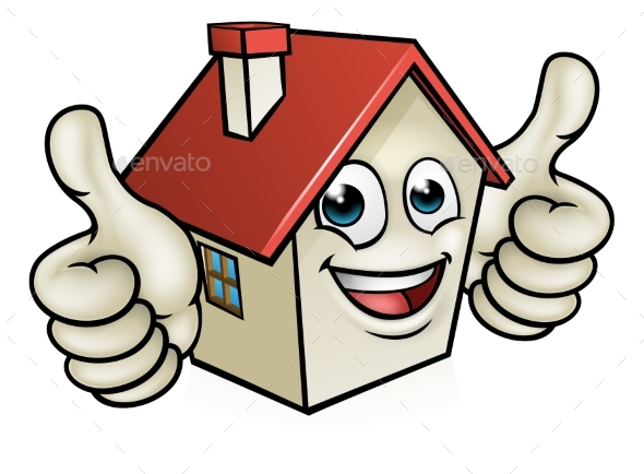 House Cartoon Mascot Character - Buildings Objects