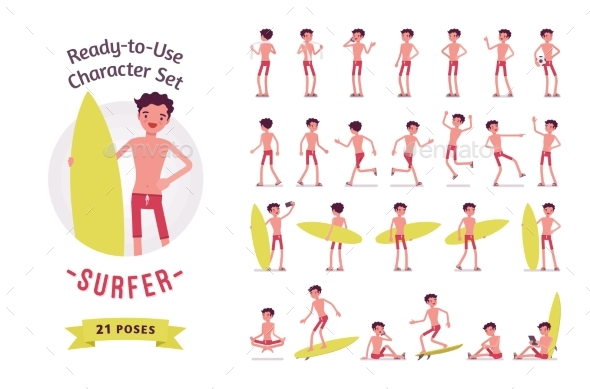 Ready-to-Use Surfer Man Character Set - People Characters