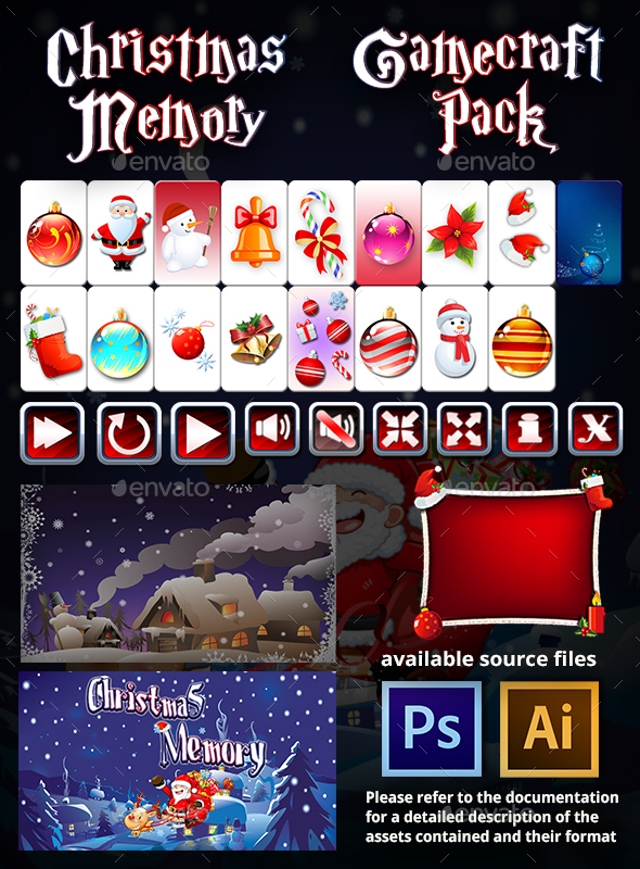 GraphicRiver Christmas Memory Game Assets 20342107