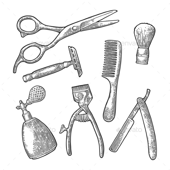 Set of Tool for Barber Shop - People Characters