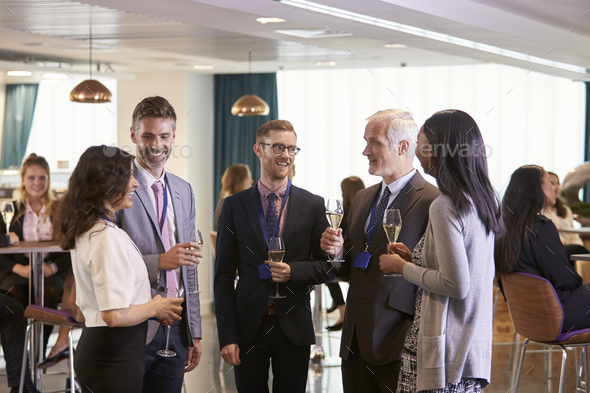 Delegates Networking At Conference Drinks Reception - Stock Photo - Images