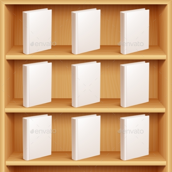 Bookshelf and Books with Blank Covers - Man-made Objects Objects