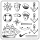 Vintage Sailor Naval Icon Set in Monochrome Style - GraphicRiver Item for Sale