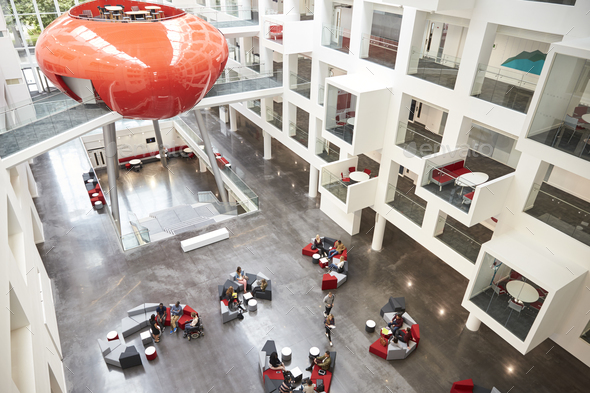 Modernist interior of a university atrium, elevated view - Stock Photo - Images