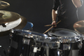 Close Up Of Drummer Playing Drum Kit In Studio - PhotoDune Item for Sale