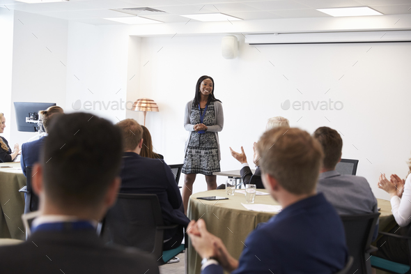 Businesswoman Making Presentation At Conference - Stock Photo - Images