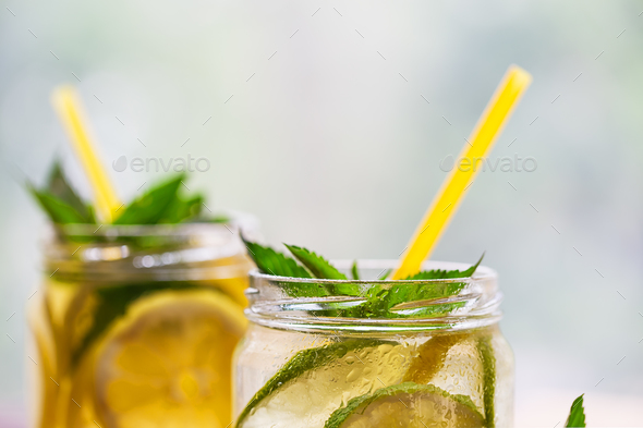 Fragment of jars with lemonade - Stock Photo - Images