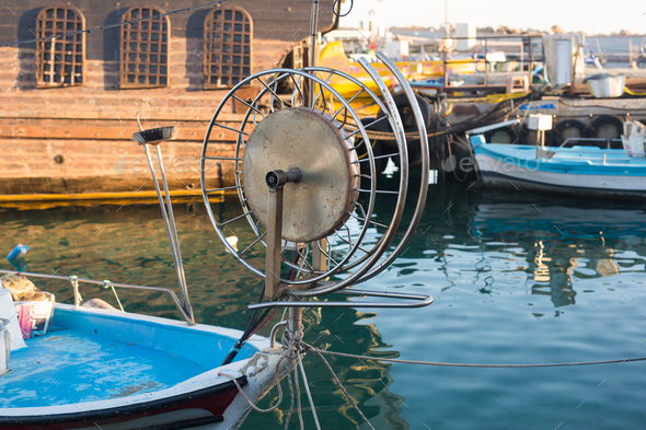 Reel for Retractable Fishing Netting on a Boat - Stock Photo - Images