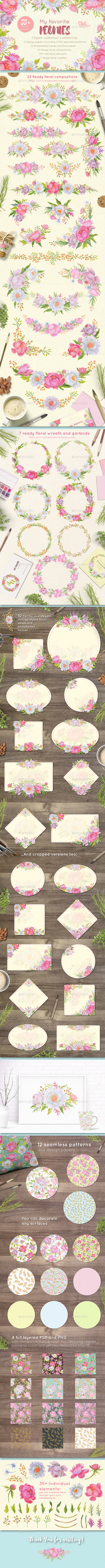 Floral Design Pack (Watercolor & Pastel) - Miscellaneous Illustrations