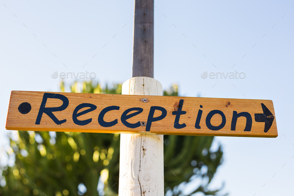 Reception sign at a hotel. - Stock Photo - Images