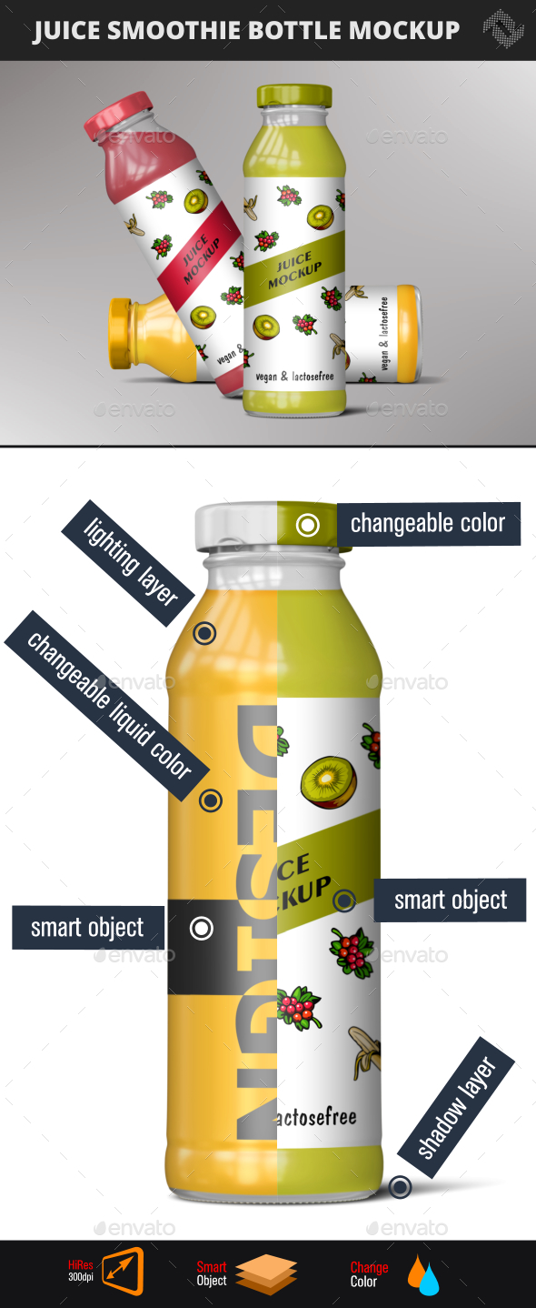 Juice Bottle Smoothie Mockup - Food and Drink Packaging