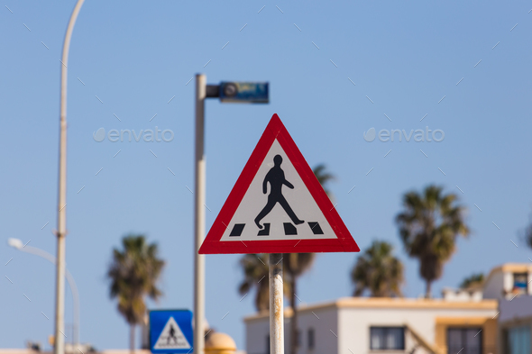 Traffic sign pedestrian crossing - Stock Photo - Images
