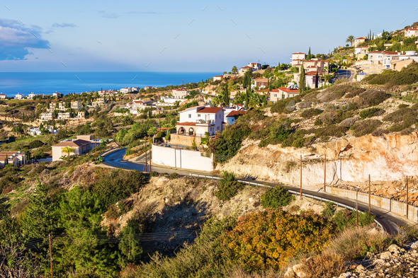 Cyprus island, top view. Houses roofs - Stock Photo - Images