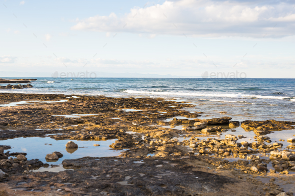The rocky shore by the sea - Stock Photo - Images