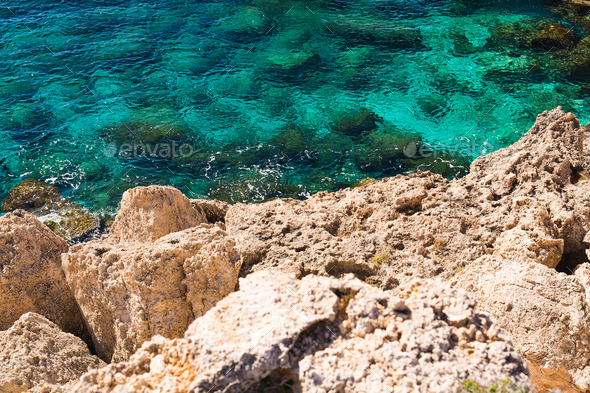 Rock cliffs and sea bay with azure water near Protaras, Cyprus island. - Stock Photo - Images