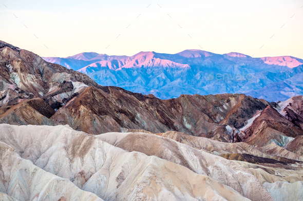 Death Valley National Park - Zabriskie Point at sunrise - Stock Photo - Images