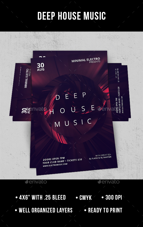 Deep house music flyer by jamesgulfan graphicriver for What s deep house music