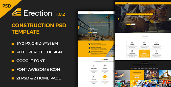 Erection - Construction Multipurpose PSD Template