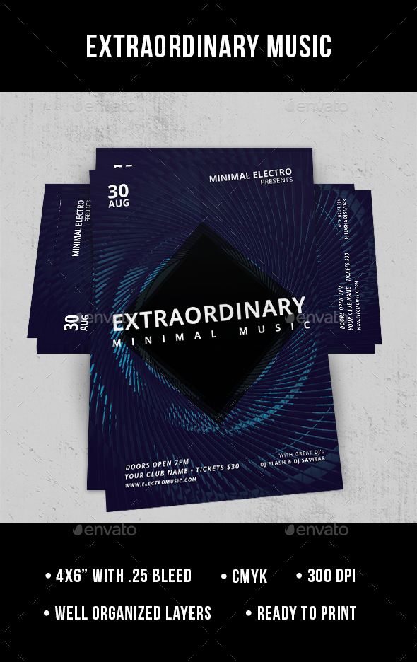 Extraordinary Minimal Music - Flyer - Clubs & Parties Events