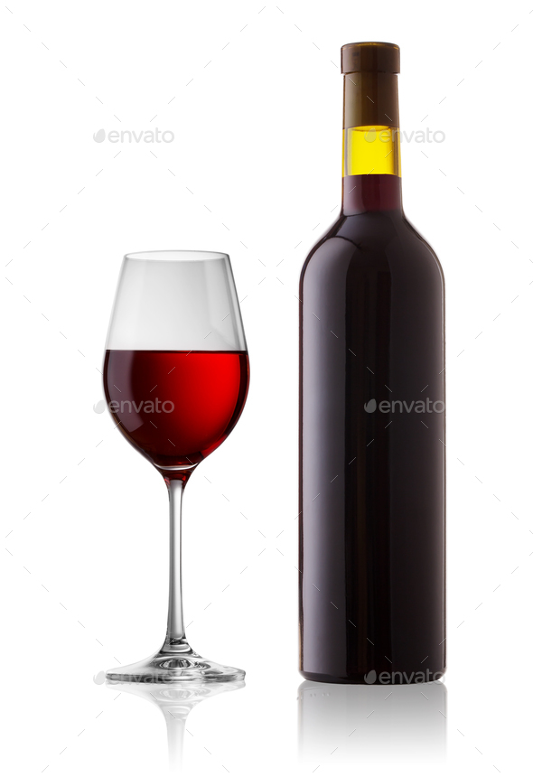 Glass and bottle with red wine - Stock Photo - Images