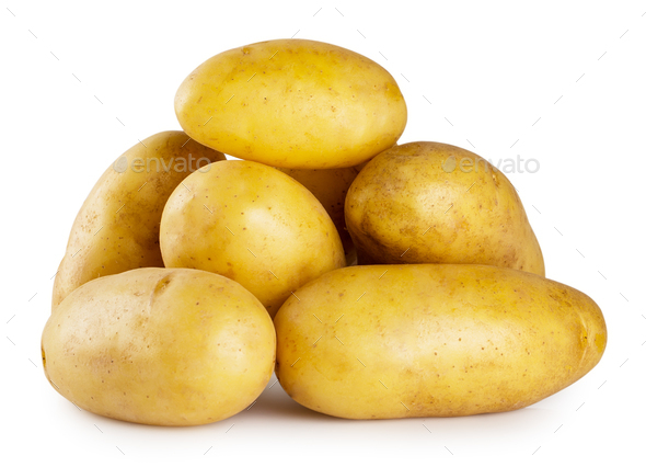 Pile of young potatoes isolated on white background - Stock Photo - Images