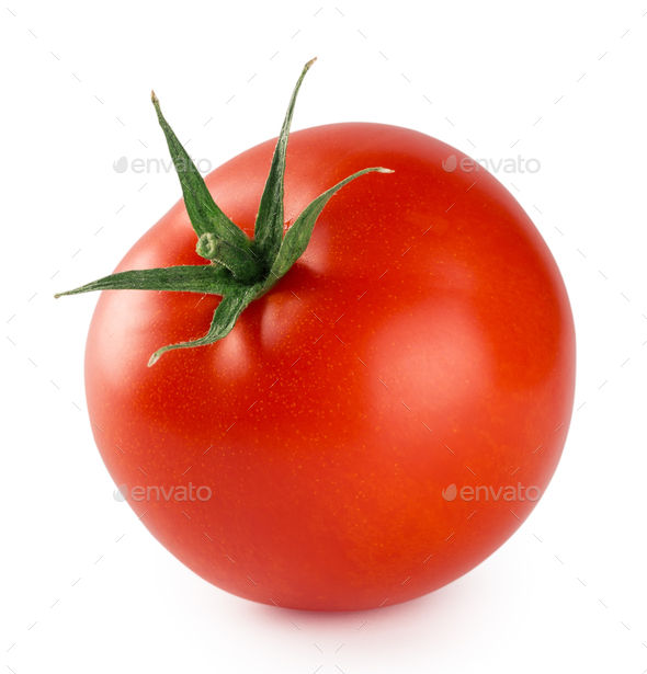 Red ripe tomato isolated on white background - Stock Photo - Images