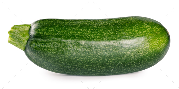Raw ripe zucchini isolated on white background - Stock Photo - Images
