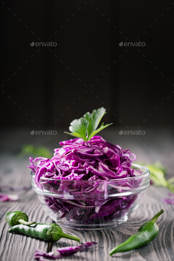 Salad from chopped red cabbage - Stock Photo - Images