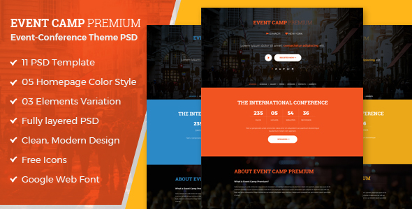 Event Camp – Premium Event Conference PSD Template