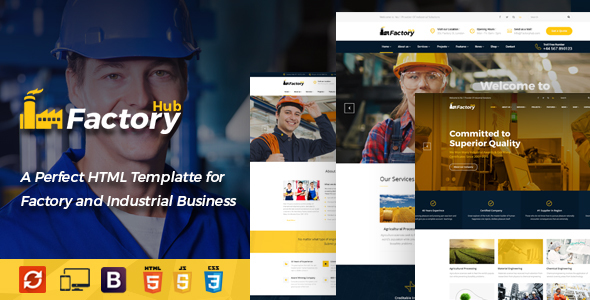 Factory HUB - Industry / Factory / Engineering and Industrial Business HTML Template