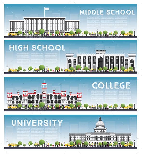 Set of University, High School and College Study Banners - Buildings Objects